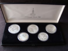 Russia - 5, 10 Rouble 1979 Coin set XXII Olympics 1980 in Moscow - silver