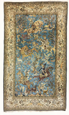 Persian carpet, very fine Ghum with silk, 235 X 140 cm