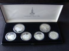 Russia – 5 and 10 Rouble 1980 'XXII Olympic Games in Moscow' (6 pieces), set – Silver