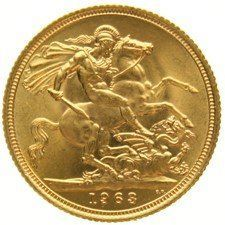 England – sovereign, 1963, Elizabeth II, gold