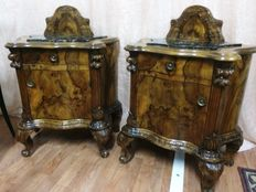 Pair of bedside tables in Amboyna burl wood - Italy - ca. 1930