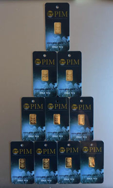 10 ingots of 999.9 gold x 0.10 g each - PIM Gold Ingot.