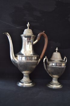 Silver coffee pot and sugar bowl, Portugal, 1st half 20th century