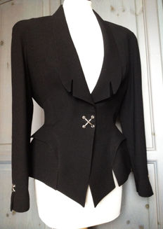 Thierry Mugler  - Feminine  Tailored Black Jacket -  Made in France