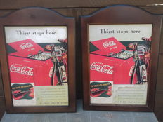 2 x Original print Ad COCA-COLA in wooden frame - Golf thirst Stops here - 1942.