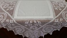 Cotton filet tablecloth, around 1920, from an Italian private collection