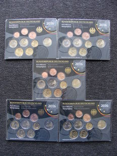 Germany, year pack/ year collection 2016, A, D, F, G, J, including 5 x 2 Euro coin Saxony.