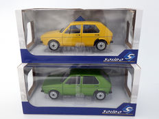 Solido - Scale 1/18 - Lot with 2 models: Volkswagen MK1 Golf L 1983 - Metalic Green and Yellow