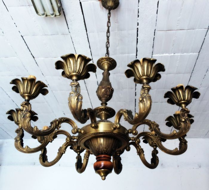 Bronze chandelier - Italy - 20th century.