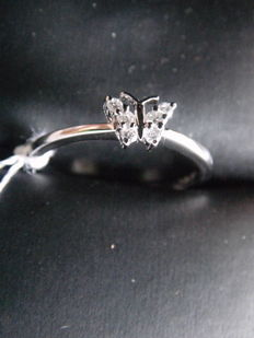 Butterfly Ring 18K white gold and 0,10ct diamonds - size 7