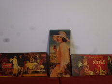 3 pressed wood tables with Coca-Cola advertising images - specific for a collection - 20th century.