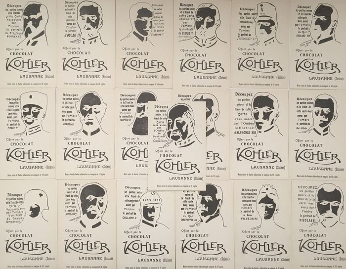 Lot of 19 advertising postcards CHOCOLAT KOHLER-complete series of 19 subject Kings Queens emperors Presidents-Lausanne Suisse