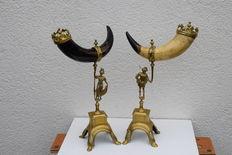 A couple of horns of plenty-brass and horn-France-ca. 1930