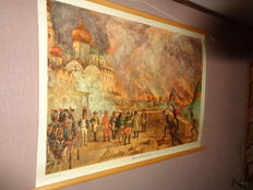 """Two intact old linen history school posters/school maps of Isings with Napoleon, the title """"Fire of Moscow (1812)"""" and the poster """"In a medieval monastery"""""""