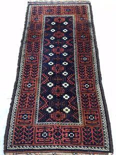 Wonderful vintage Oriental carpet Baloutsch - made in the middle of the 20th Century - 95 x 200cm - from 1€