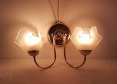 Brass wall lamp with two chalice-shaped frosted glass shades - France, approx. 1950