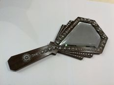 Hand mirror in holy wood and silver (antique)