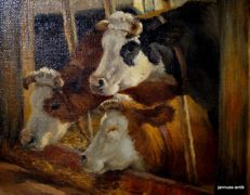 Netherlands (20th century) signed: W. de Haas - Cows at the trough