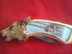 Franklin mint hunting knife , collector's wolf knife