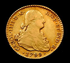 Spain – Carlos IV – Attractive doubloon of 2 Escudos, 1799, Seville CN – Gold.