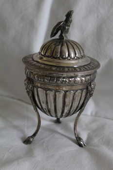 Three Footed Silver Tea Caddy, Italy, 1872-1933