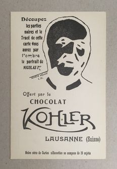 Complete series of 19 very rare advertising postcards CHOCOLAT KOHLER - Kings Queens emperors Presidents - Lausanne Suisse