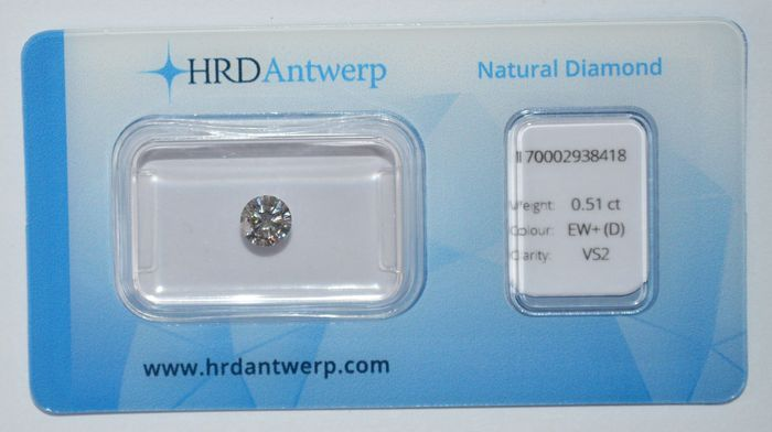 0.51 ct brilliant cut diamond, EW+(D), VS2