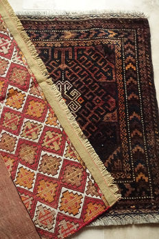 Set of  2 Beautiful  Nomadic Tent  Rugs  circa 1990 in Excellent condition  Sumac 51x92cm  and Balisht 66x60cm