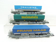 Roco N - 25149/25156/25157 - 3x Hupack container carriages of the NS