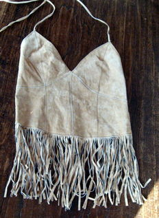 Leather suede top with fringe - laces on the back to for closing