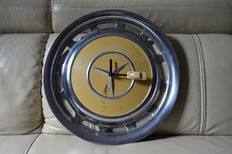 Wall clock from a wheel cap of a Mercedes-Benz W123 - single piece - 1970s