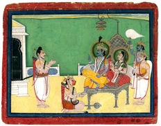 "Traditional miniature painting ""Ram Darbaar, the god Hanuman kneeling before Rama and Sita"", Mewar School - Rajasthan, India - ca. 1840"