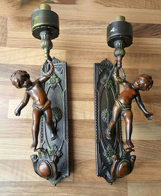 Two lovely lamps with angels, mid 20th century