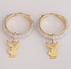 Playboy bunny earrings made of 18 kt yellow gold and zirconias – Length: 42 mm