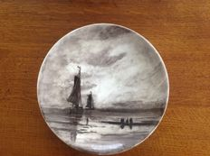 Rozenburg The Hague - Wall plate with image after W.H. Mesdag