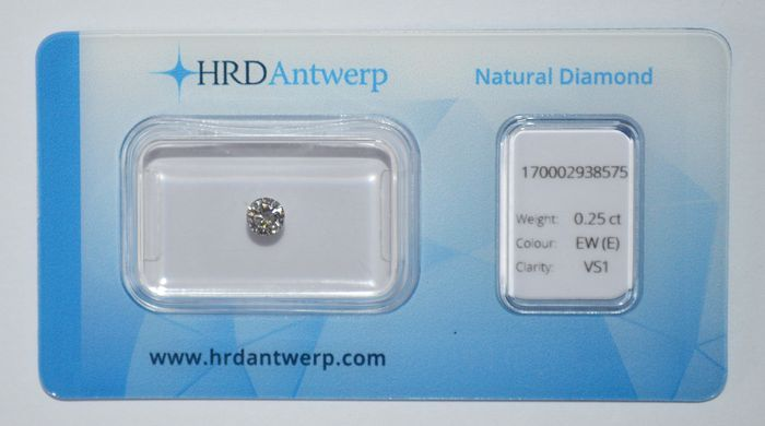 0.25 ct brilliant cut diamond, EW(E), VS1