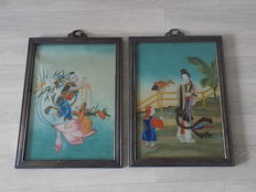 Pair of Chinese paintings on glass - China - middle of the 20th century