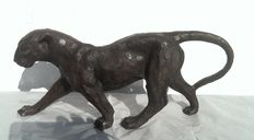 Bronze panther, lost wax casting - France - mid-1900s