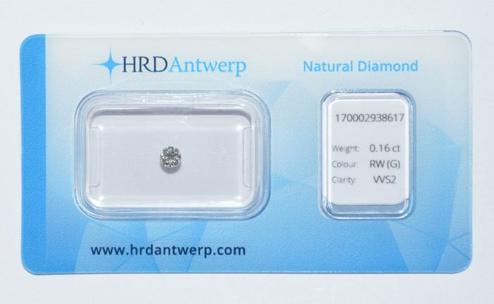 0.16 ct brilliant cut diamonds, RD(G), VVS2