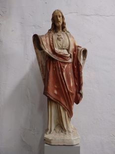 Beautiful large Church statue ' Christ Sacred Heart ' - Flanders - ca. 1900