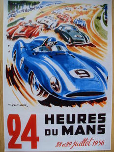 Large poster of the 24 hours of Le Mans, 1956