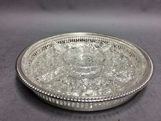 Glass dish with compartments on silver plated serving tray, England, ca. 1965