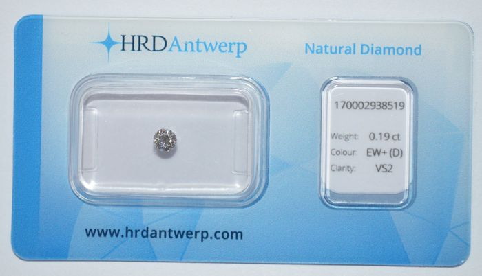 0.19 ct briljant geslepen diamant, EW+(D), VS2