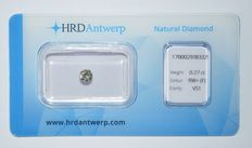 0.27 ct brilliant cut diamond, RW+(F), VS1