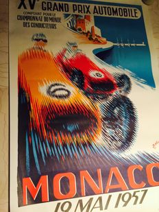 Large screenprint of the Monaco Grand Prix - 68x100 cm - 1957
