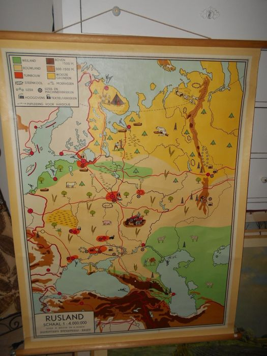 Topographic Map On Linen And With Suspension Hook Of Russia