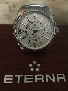Eterna-Kontiki 4 Hands Eterna-Matic 1592-41-11-0217. Men's Watch with screwed on polished stainless steelcase with Eterna Kontiki boat emblem.