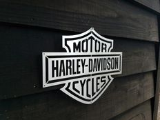 Harley Davidson showroom wall logo - stainless steel - 35 x 27 cm - 21st century