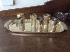 Art Deco silver serving tray with silver cups