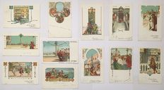 VENETIA ANTIQUA Illustrator ALBERTO MARTINI 12 postcards mailed the same day (April 23, 1903) for the same recipient